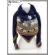 Foulard - Etoiles - Frises - Bleu marine / Camel