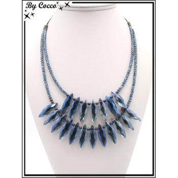 Collier - Double rangs - Perles ovales - Bleu
