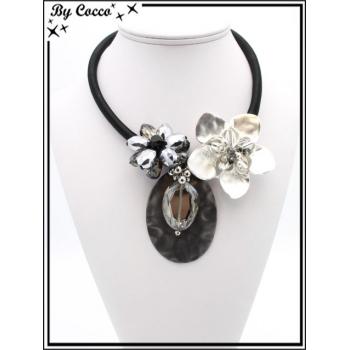 Collier - Perles - Fleurs - Argent / Noir