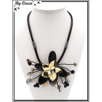 Collier - Fleur perles - Gris / Argent