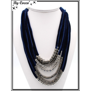 Collier - Multi-rangs - Velours - Perles - Bleu marine