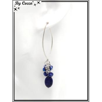 Boucles d'oreilles pendantes - Perles - Trèfles - Argent / Bleu