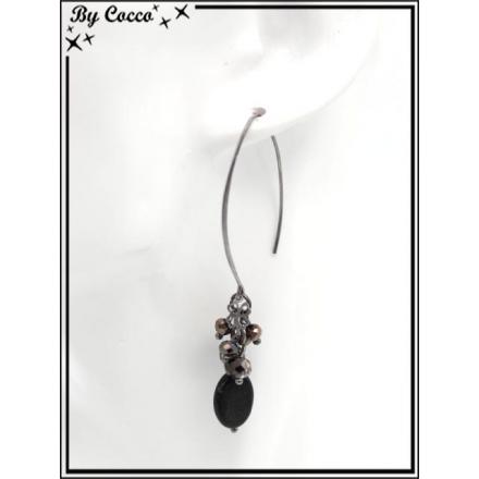 Boucles d'oreilles pendantes - Perles - Trèfles - Argent / Noir