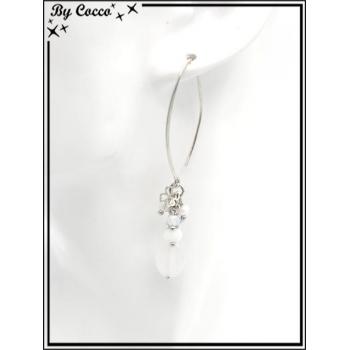 Boucles d'oreilles pendantes - Perles - Trèfles - Argent / Blanc