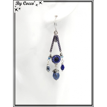 Boucles d'oreilles pendantes - Chaînettes - Plumes - Rosace perle - Bleu / Argent