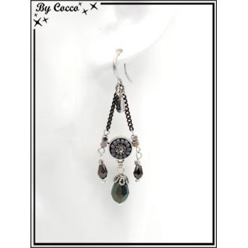 Boucles d'oreilles pendantes - Chaînettes - Plumes - Rosace perle - Gris / Argent