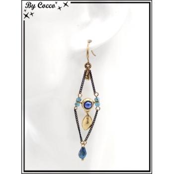 Boucles d'oreilles pendantes - Chaînettes - Plumes - Losange - Bleu / Doré