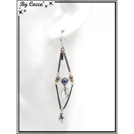 Boucles d'oreilles pendantes - Chaînettes - Plumes - Losange - Bleu / Argent