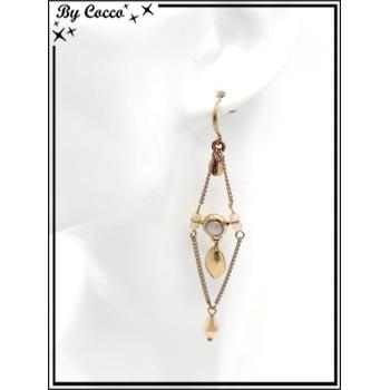 Boucles d'oreilles pendantes - Chaînettes - Plumes - Losange - Beige / Doré