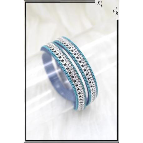 Bracelet - Double tour - Aimantée - Chaîne et strass - Bleu / Bleu foncé / Turquoise