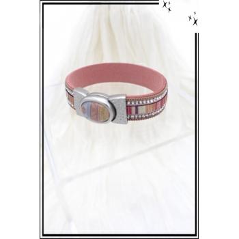 Bracelet - Stella Green - Strass - Fermoir perle dessinée - Rose poudré