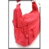 Besace - Tissu déperlant - Double poches rabat - Double Zip - Cerise