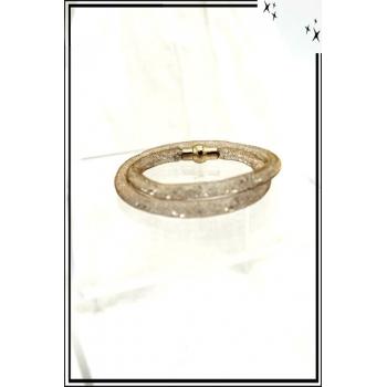 Bracelet - Nylon - Fin - Aimanté - Petits cristaux brillants - Doré
