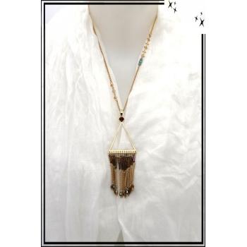 Sautoir - Chaîne - Perle de rocaille et pierre - Marron