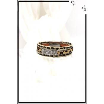Bracelet - Stella Green - 3 rangs - Strass - Aspect léopard - Beige