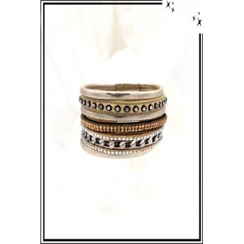 Bracelet - Stella Green - Manchette - Strass - Chaîne - Tissu - Beige