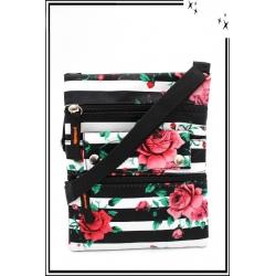 Besace - Zip - Rayures - Roses - Noir / Blanc