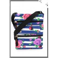 Besace - Zip - Rayures - Roses - Bleu / Blanc