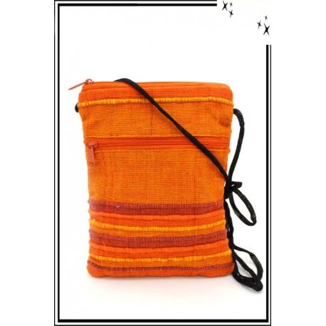 Besace - Rayures - Tissu - Orange