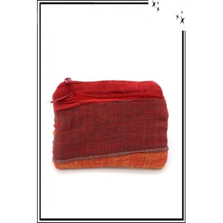Porte-monnaie - Rayures - Tissu - Rouge