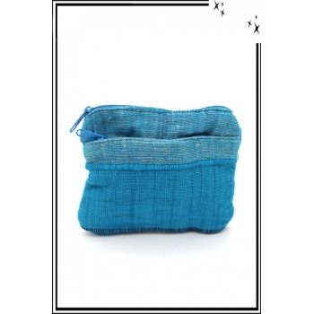 Porte-monnaie - Rayures - Tissu - Bleu