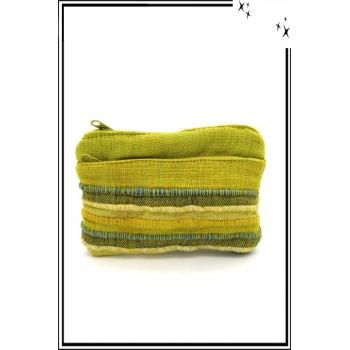 Porte-monnaie - Rayures - Tissu - Vert