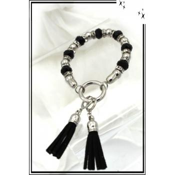 Bracelet - Perles à facettes transparentes - 2 Pompons - Argent - Noir