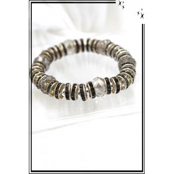 Bracelet - Stella Green - Elastique - Anneaux - Métal strass - Noir