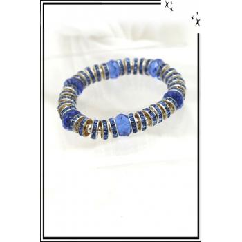 Bracelet - Stella Green - Elastique - Anneaux - Métal strass - Bleu