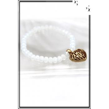 Bracelet - P. Facettes - Coeur ajouré - Transparent / Doré