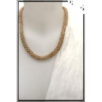 Collier - Perles à facettes - Beige