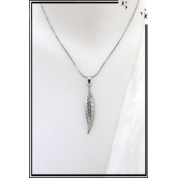 Collier - Feuille - Petits strass - Argent