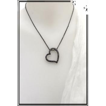 Collier - Coeur noir - Strass