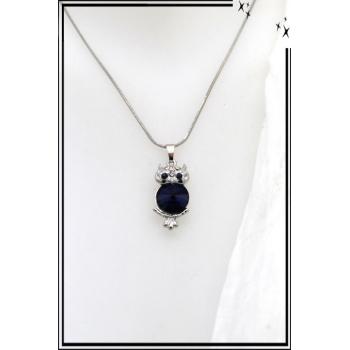 Collier - Chouette - Bleu marine