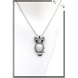 Collier - Chouette strass - Argent