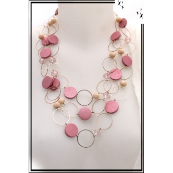 Collier - Perles plates - Rose