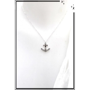 Collier - Ancre marine - Strass