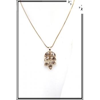 Collier - Feuille - Perles - Doré