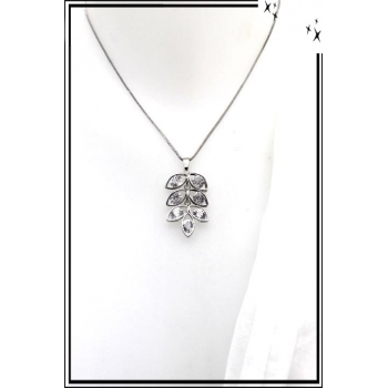 Collier - Feuille - Perles - Argent