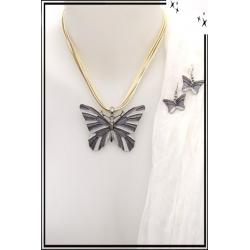 Parure - Cordon - Papillon - Beige / Blanc