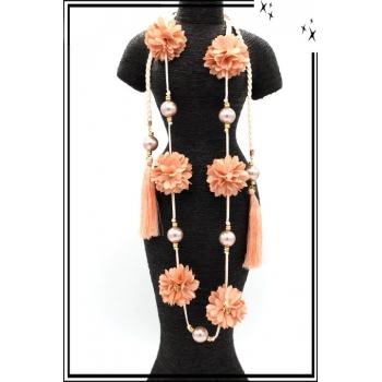 Sautoir - Perles - Pompons - Fleurs - Saumon