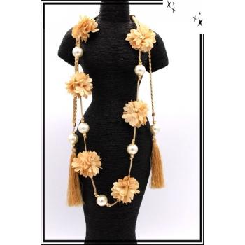 Sautoir - Perles - Pompons - Fleurs - Beige