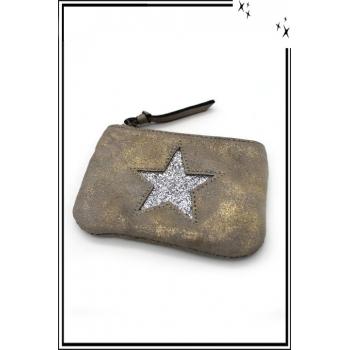 Petite pochette - Etoile strass - Patinée - Gris