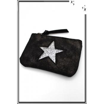 Petite pochette - Etoile strass - Patinée - Noir