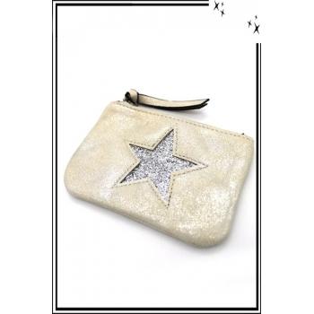 Petite pochette - Etoile strass - Patinée - Blanc