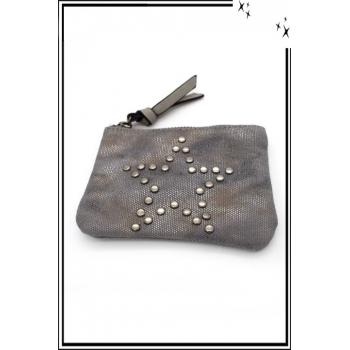 Petite pochette - Etoile cloutée - Patinée - Gris