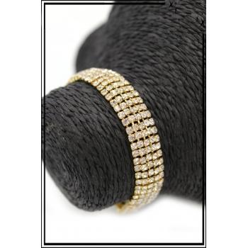 Bracelet - Mailles serrées - Strass - Doré
