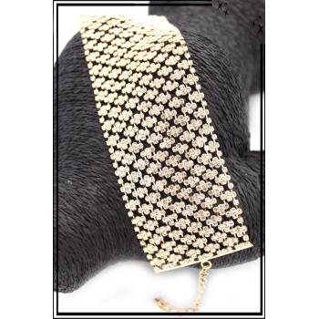 Bracelet - Large - Strass - Doré