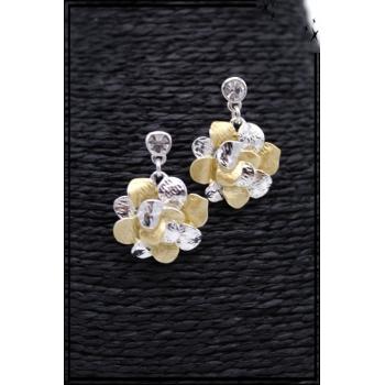 Boucles d'oreilles - Fleurs - Pétales - Argent / Doré