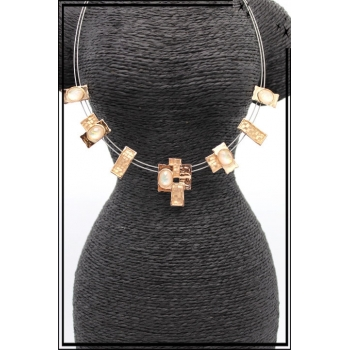 Collier - Deux rangs - Perles diverses - Doré